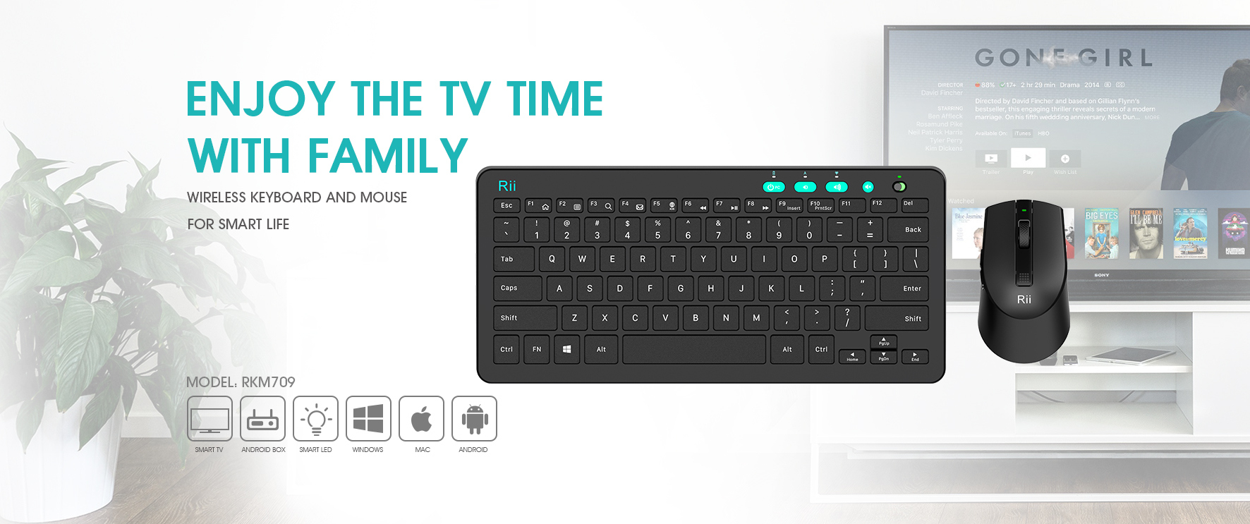 Riitek Mini Wireless Keyboard And Bluetooth I8 With 3 Colour Backlight