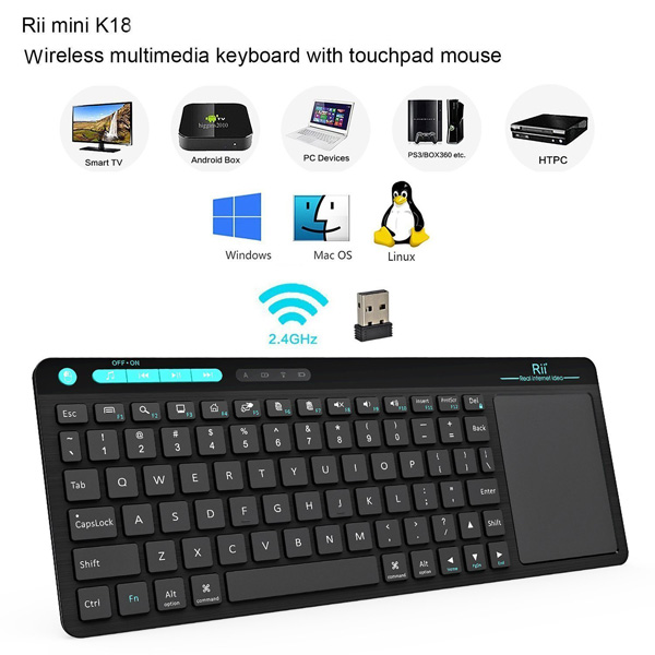 Rii K18 Mini Wireless Keyboard With Build-in Large Size