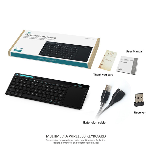 Rii K18 Mini Wireless Keyboard With build-in Large Size Touchpad